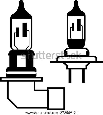 Car lightbulb headlight vector - stock vector