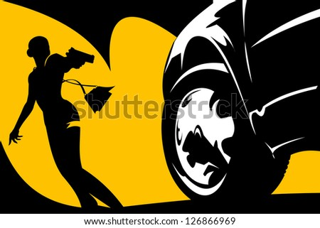 car lights headlights silhouette of a girl in a black dress; - stock vector