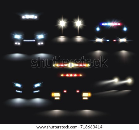 Car lights set realistic headlight light stock vector 718663414 car lights set of realistic headlight and light bar images and compositions of car silhouettes vector aloadofball Choice Image