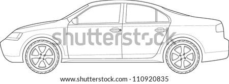 car line art - stock vector