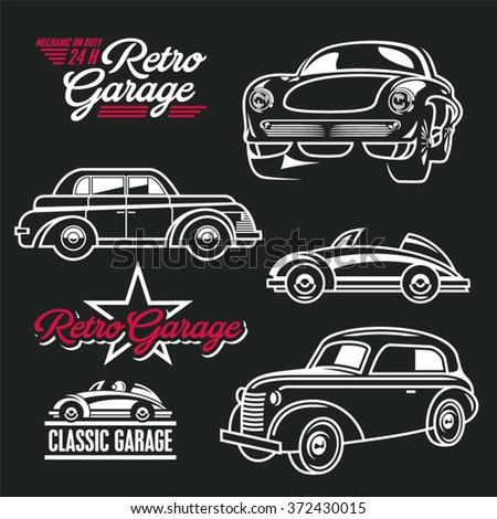 Car line art. Classic cars. Retro cars garage. - stock vector