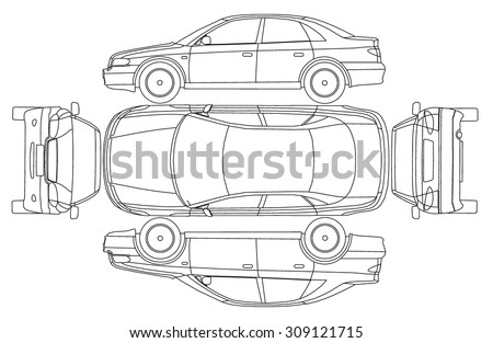 Car line draw insurance & rent damage inspection condition report form vector - stock vector