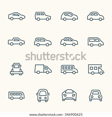 Car line icon set - stock vector