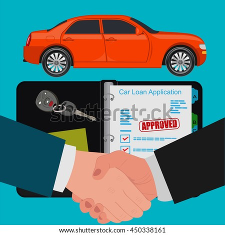 car loan concept, handshake, flat design, vector illustration