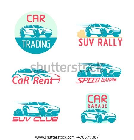 Car Logo Suv Emblem Set Template Stock Vector Shutterstock