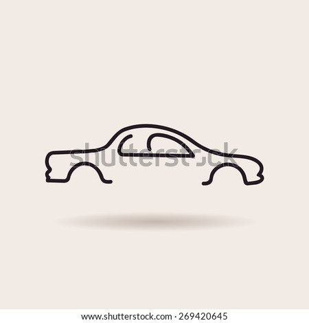 Car logos. Contour line silhouette. vector icon - stock vector