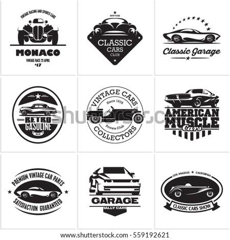 Set Classic Muscle Car Logo Emblems Stock Vector