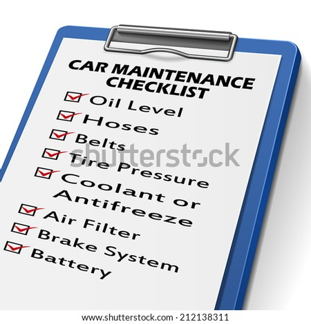 car maintenance checklist clipboard with check boxes marked for equipments of car - stock vector