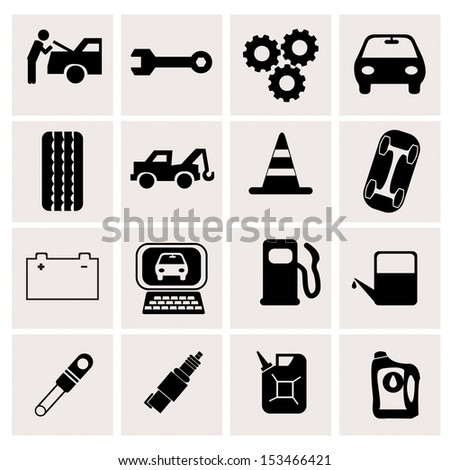 car maintenance icons on white background - stock vector