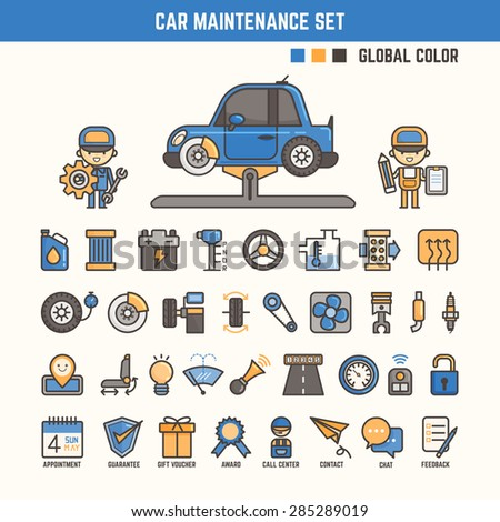 car maintenance infographic elements for kid including characters and icons - stock vector