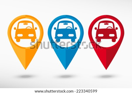 Car map pointer, vector illustration. Flat design style - stock vector