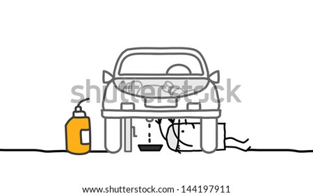 car & mechanic - stock vector