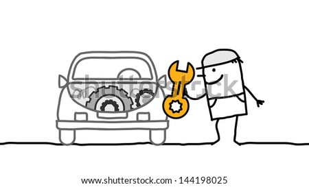 car & mechanic - stock vector