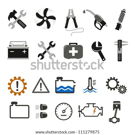 Car mechanic and service icons - stock vector