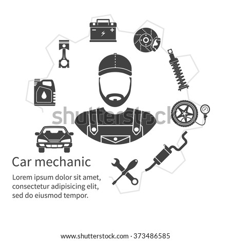 Car mechanic, icons tools and spare parts, concept. Repair machines, equipment. Car service concept. Vector illustration. Auto mechanic icon. Repair car design. Black icons on white background - stock vector