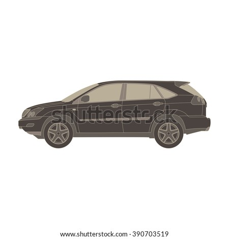 Car monochrome flat icon in gray color theme illustration object