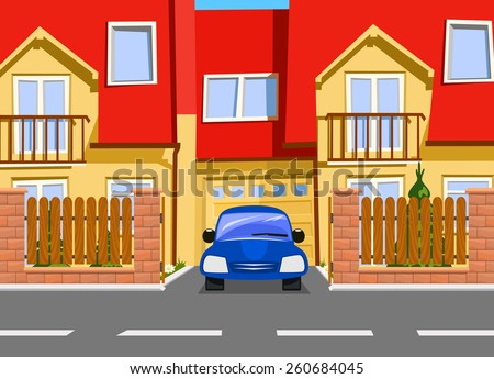 Car near the garage of new house. Vector - stock vector