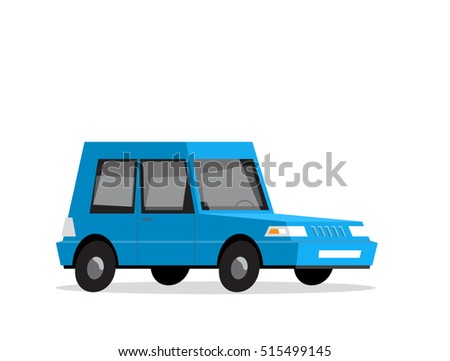 Car of blue colour, in flat style