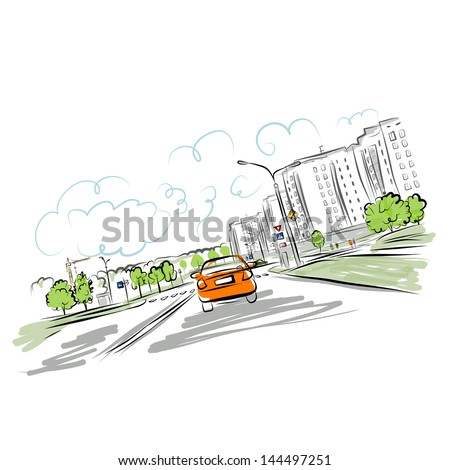 Car on the city road for your design - stock vector