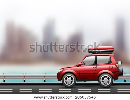 Car on the road against the background of the modern city to the beach. Vector illustration. - stock vector