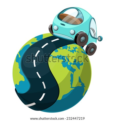 Car on the road, vector illustration. - stock vector