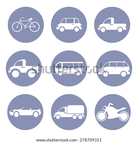 Car or vehicle icon set, for design presentation in vector - stock vector