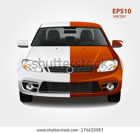 Car Paint 3d Color Vector Illustration Before And After Creative Concept