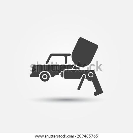 Car paint icon - a car and paint sprayer (airbrush) vector symbol  - stock vector