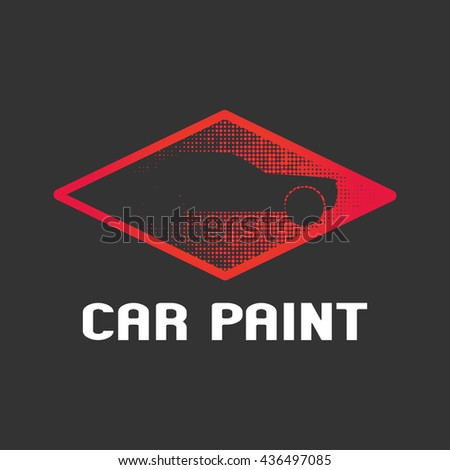 Car paint vector logo template, badge, icon. Design element with car silhouette made by airbrushing and painting - stock vector