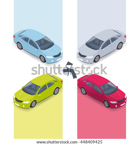 Car painting options in vector illustration