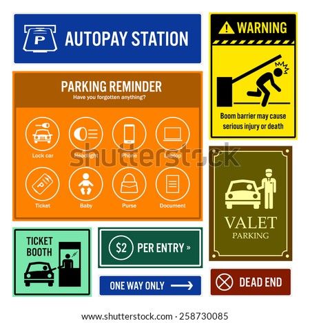 Car Park Reminder and Information Signboards - stock vector