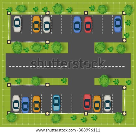 Car parking on the road view from above with cars and trees. - stock vector