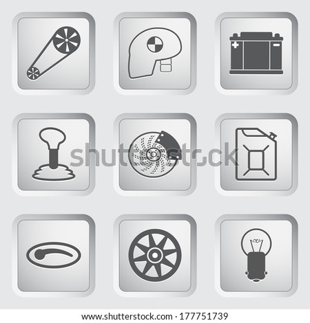 Car part and service icons set 2. Vector illustration. - stock vector