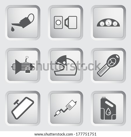 Car part and service icons set 4. Vector illustration. - stock vector