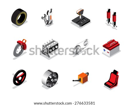 Car part icon and logo, Garage car services, Auto services. vector illustration - stock vector