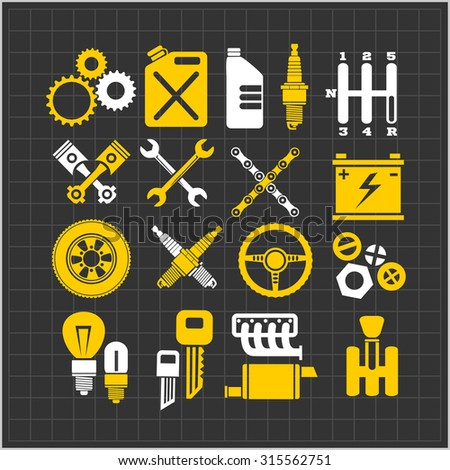 Car part icons set on a dark background. Vector Illustration. - stock vector