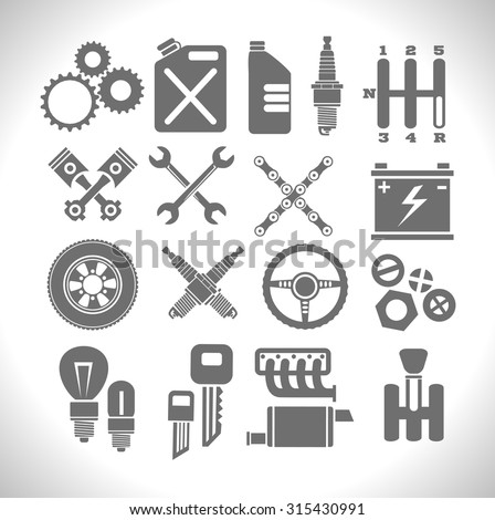 Car part icons set on a light background - vector Illustration. - stock vector