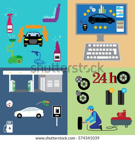 Car part set of repair icon vector illustration.  Auto service maintenance icon - stock vector