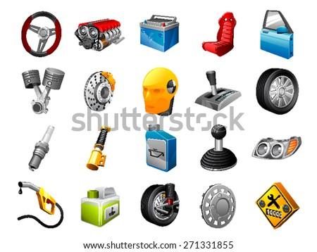 Car Parts - stock vector