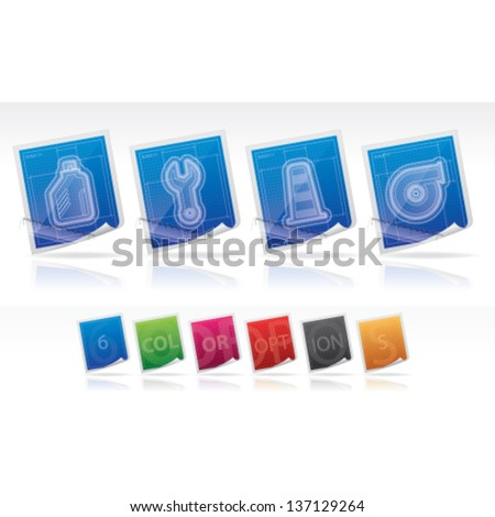 Car parts accessories blueprint style left stock vector 137129264 car parts and accessories blueprint style from left to right car lift malvernweather Images