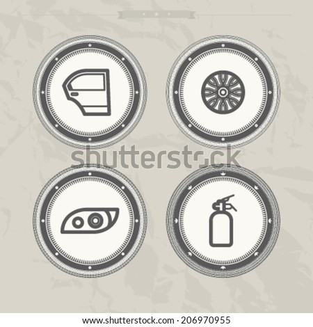 Car parts and accessories, from left to right - Car door, Rim wheel, Head lamp, Fire extinguisher. - stock vector