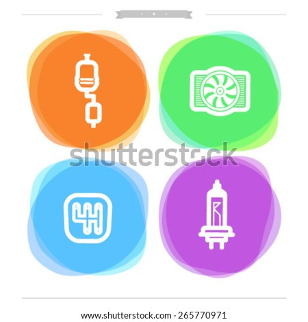 Car parts and accessories, from left to right - Exhaust system, Cooler, Gear shift, Light bulb. - stock vector
