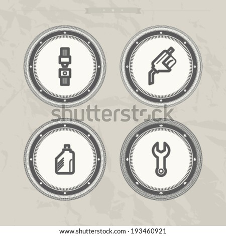 Car parts and accessories, from left to right -  Seat belt, Fuel pistol, Oil bottle, Wrench. - stock vector
