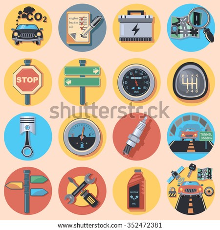 car parts and icons - stock vector