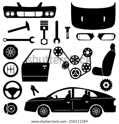 Car Parts Chassis Car Engine Parts Stock Vector 258111284 - Shutterstock