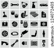 Car parts icons - stock vector