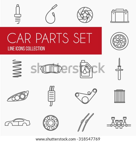 Car parts icons. Gray linear icons of auto spare parts for website menu buttons - stock vector
