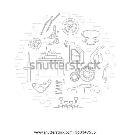 Car parts line icons in circle background  - stock vector