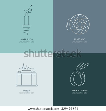 Car parts line icons 1 of 4 on four color blocks background  - stock vector