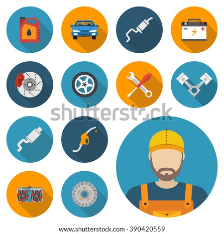 Car parts. Set icons auto spare parts for repairs. Vector illustration. Engine, wheel, piston, brake, battery, cooling, absorber, exhaust, radiator, refueling nozzle, oil canister. Icon mechanic. - stock vector